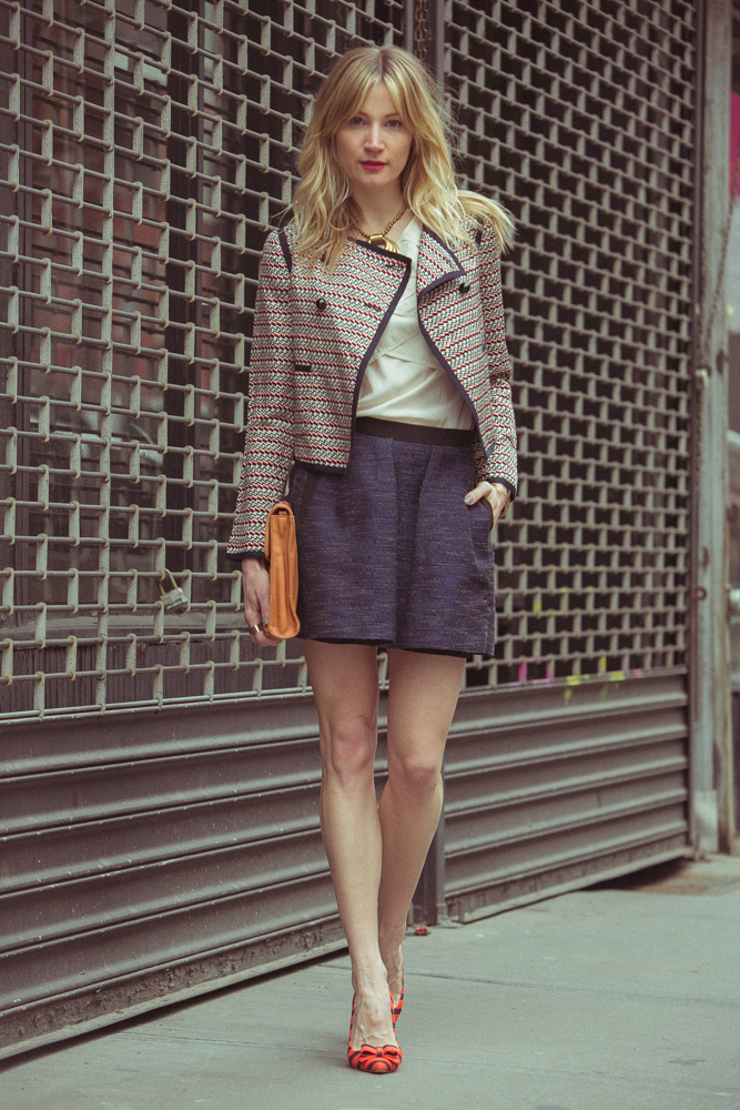 Jacket, Elizabeth and James (old); Top, Vintage; Skirt,  French Connection ; Shoes; J. Crew ( similar here ); Bag, Rebecca Minkoff (old); Necklace, Vintage; Rings,  Maison Martin Margiela