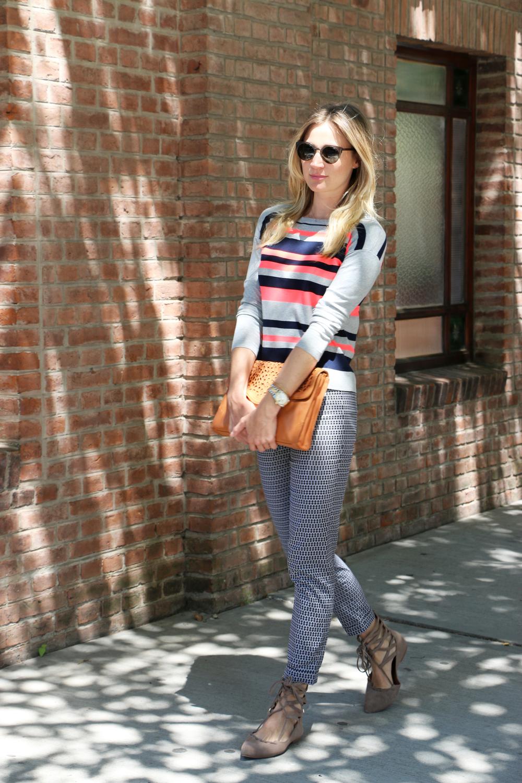 Bold Neon Stripe Jumper, Karen Millen $140;Tailored Jacquard Trouser, Karen Millen $199; Shay Lace Up Flat by Jeffrey Campbell, Free People $130