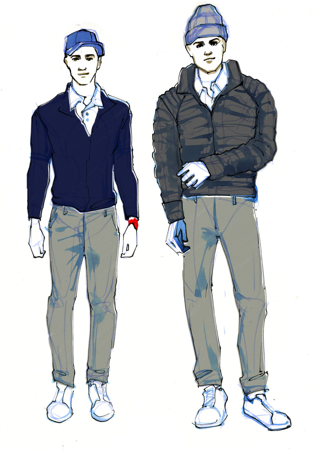 Concept sketches for valet looks