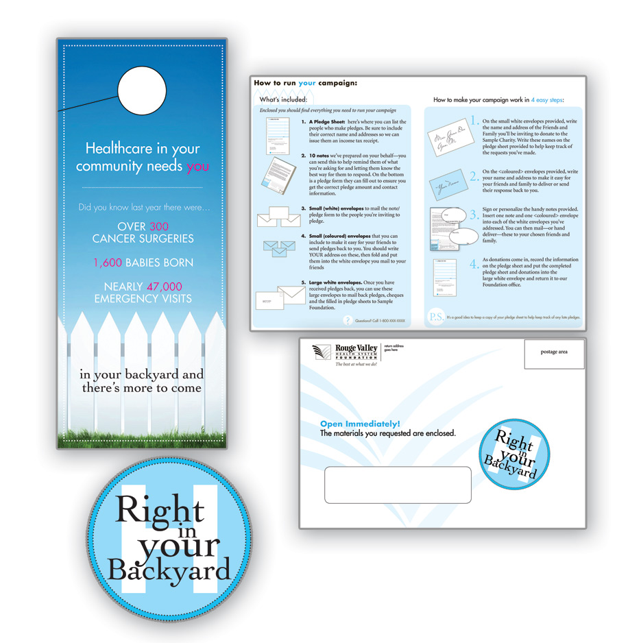 Direct mail campaign developed for Rouge Valley hospital, including logo and donor materials.