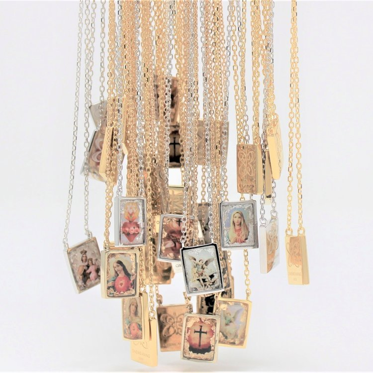 plated escapulario scapular fullxfull heart necklace brown jesus gold mary religious sacred medals catholic products virgin il
