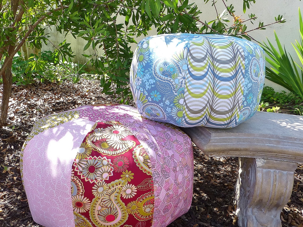 Ottomans in Lovelorn Fabric by Jenean Morrison.