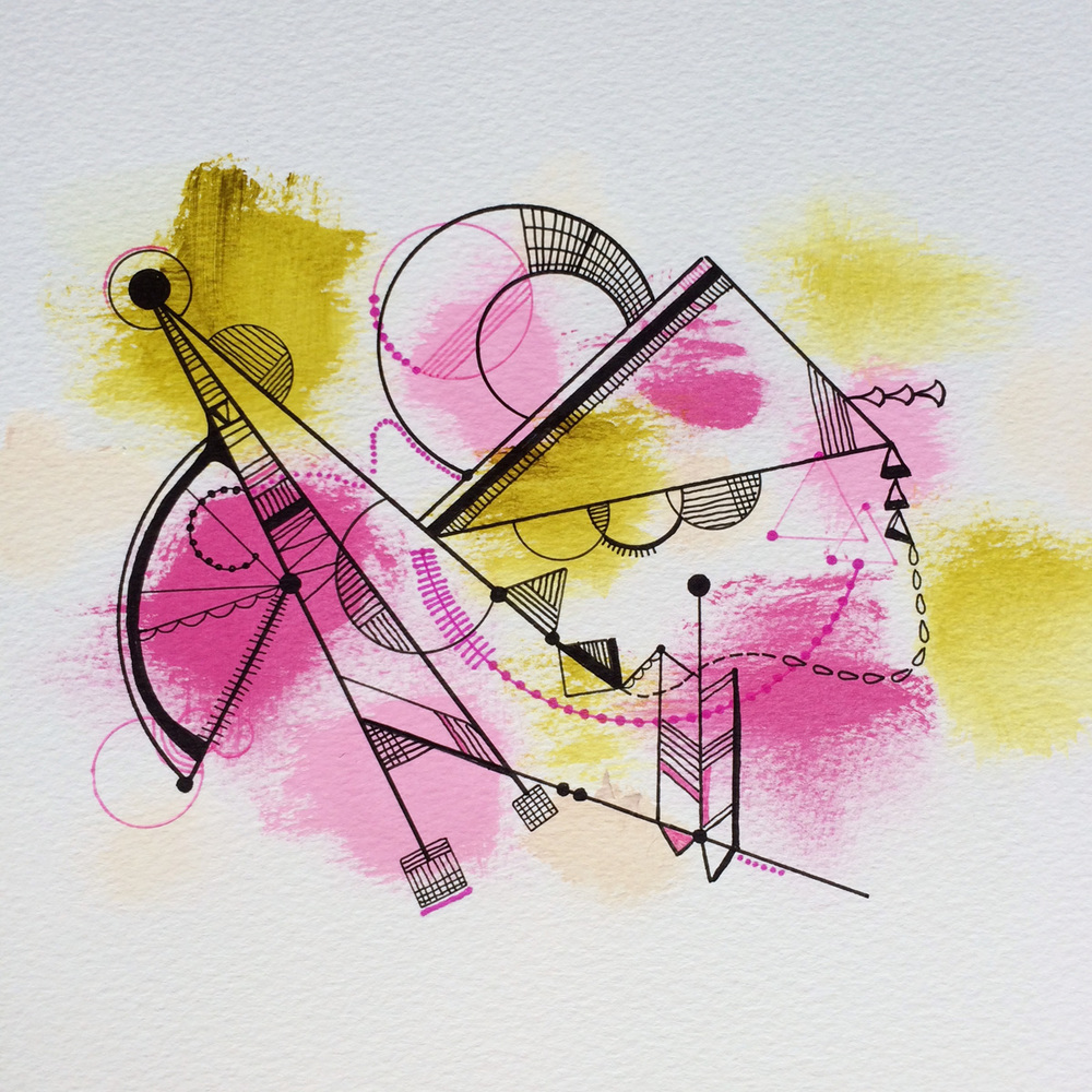 Jenean Morrison Drawing-- Acrylic and Marker on Paper, 2014