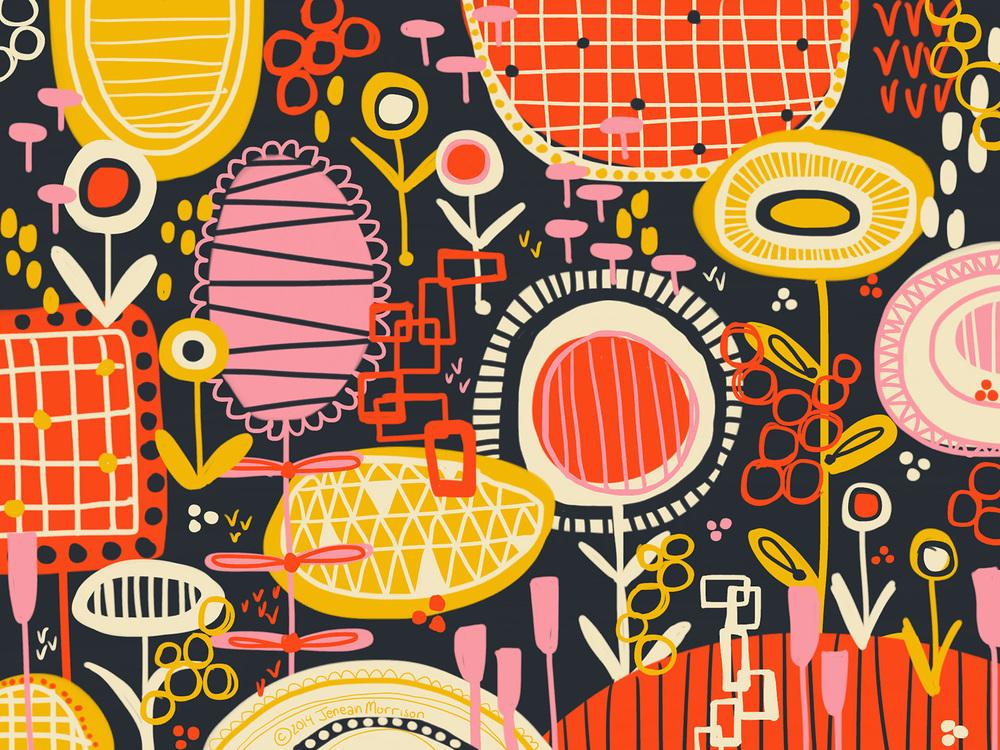 Happy garden series. Jenean Morrison, iPad, Adobe Line, Adobe Ink, 2014.