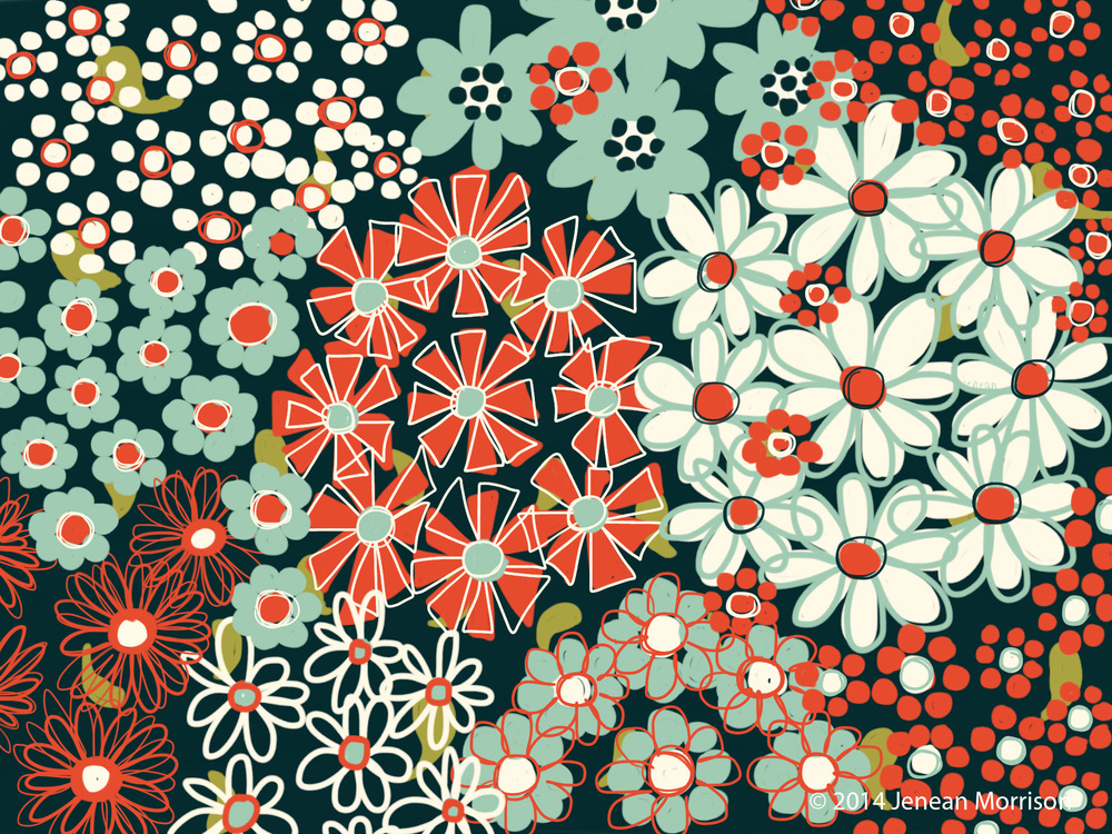 Floral bouquets. Jenean Morrison, iPad, Adobe Line, Adobe Ink, 2014.