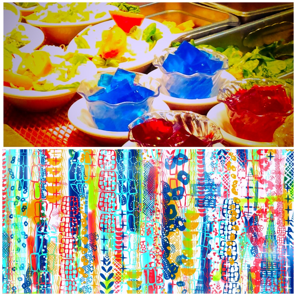 My husband's family gathers at the Piccadilly Cafeteria every year for Thanksgiving. This sketch was inspired by the colors and textures in the jello and salad section. (Artwork by Jenean Morrison)