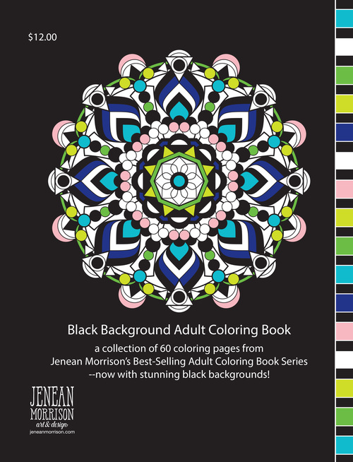 Black Background Adult Coloring Book Jenean Morrison Art Design