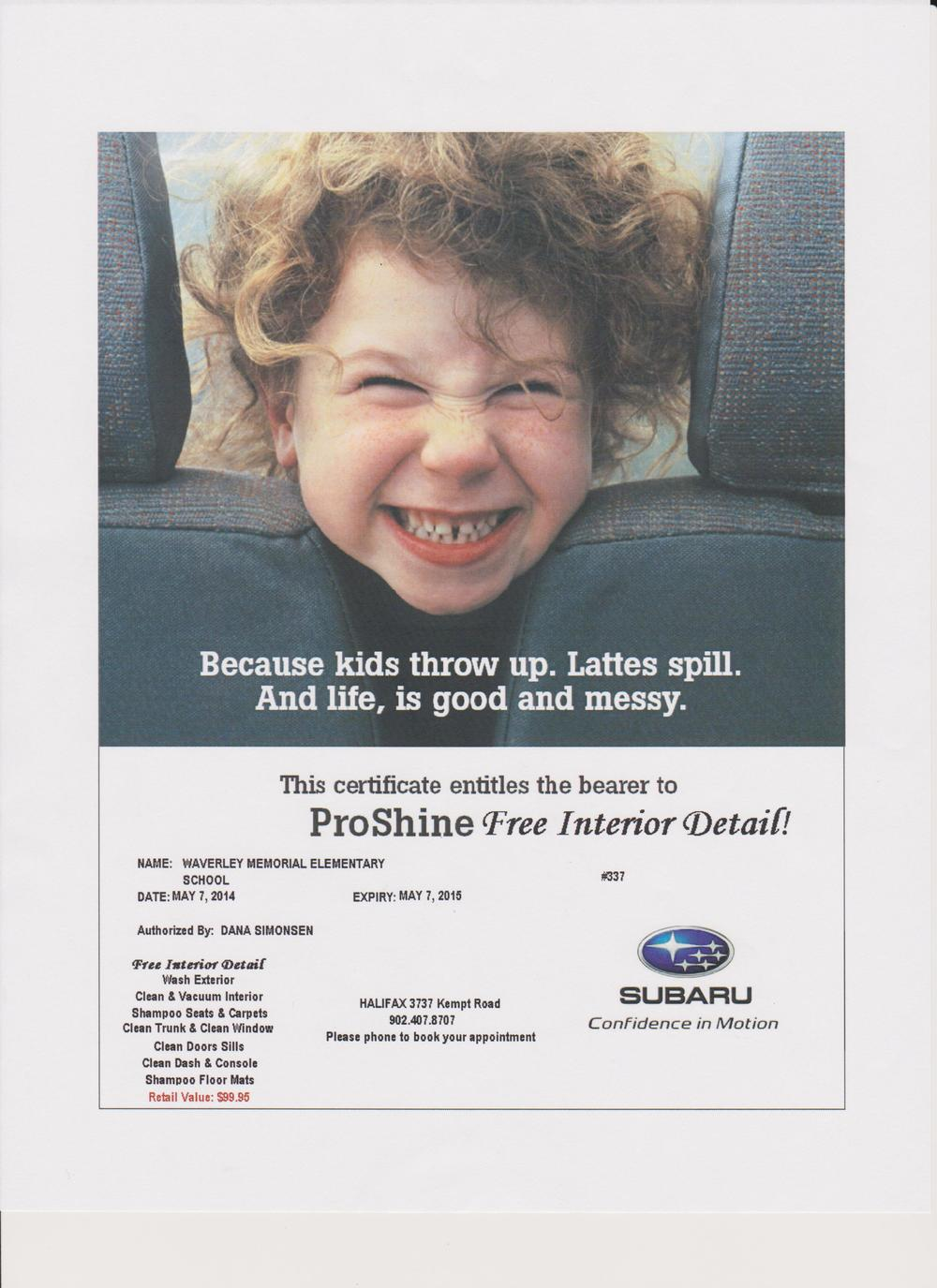 Halifax Subaru  has donated a $100 car detailing package. You can tidy up just in time for summer!