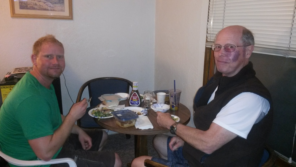 Spencer and Bill enjoying dinner in our motel room in Austin, Nevada
