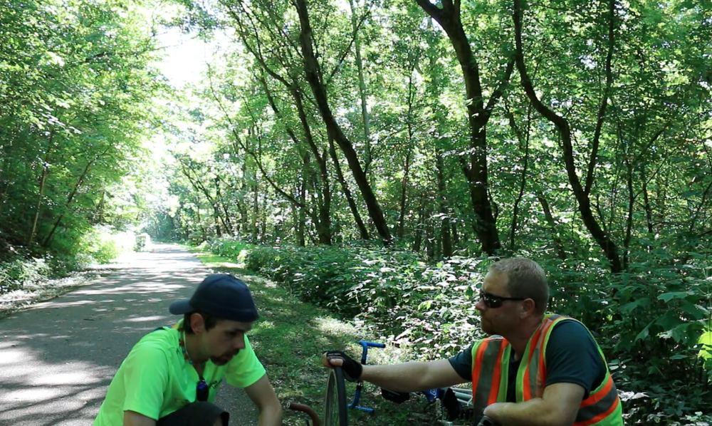 Shawn and I working on the tire and talking about recovery