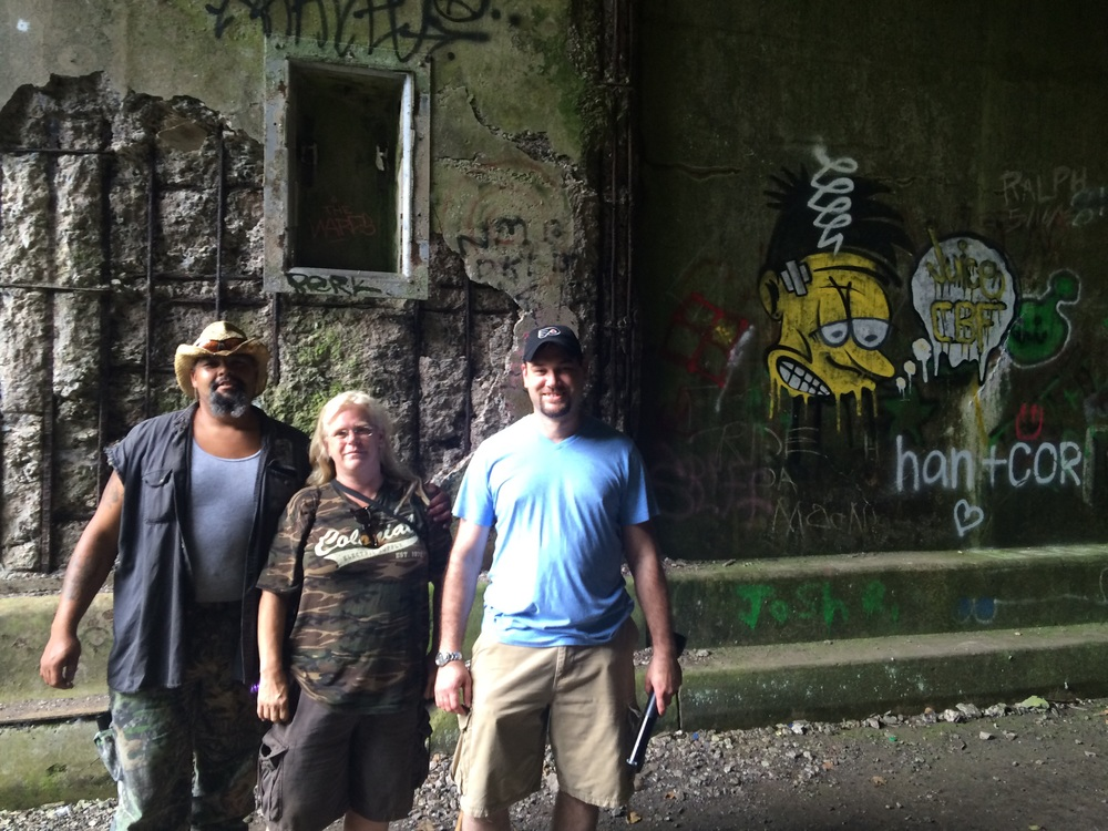 Some friendly locals chilling in the tunnel-Kim, Tim, and Ken