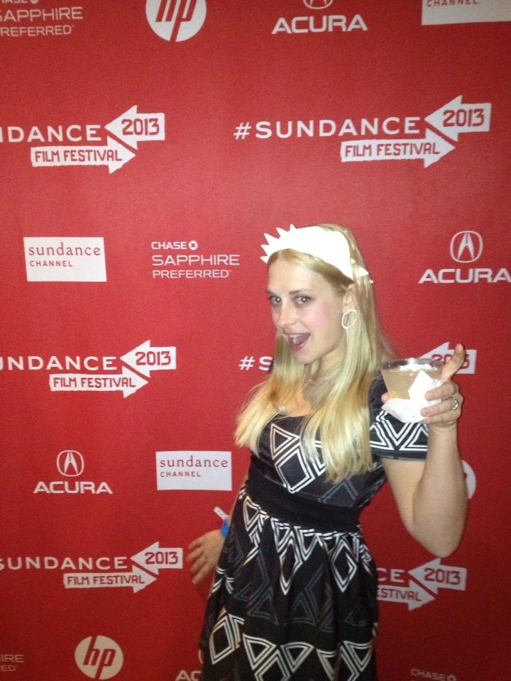 Patterned dress I designed and constructed for Megan Mantia at Sundance Film Festival 2013.