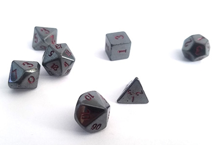 12mm Hematite Dice Set - Gallery Below
