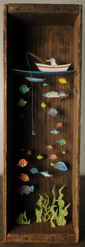 "Stanley was quite certain he had this one in the bag. mixed media assemblage 9"" x 3"""