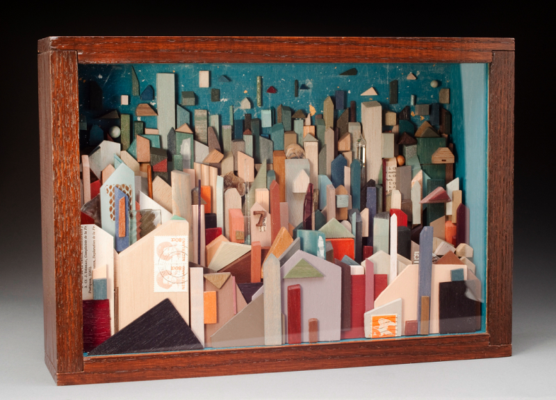 "Shadowbox Construction, 14""x10""x3.5"" Inspired by Carl Sandburg's Poem Windy City  Image courtesy of  Glen Scheffer Photography"
