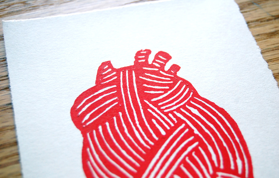 Heart (with detail) Alyssa Grenning Woodcut