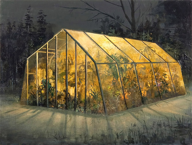"Greenhouse Acrylic on Panel 14"" x 18"""