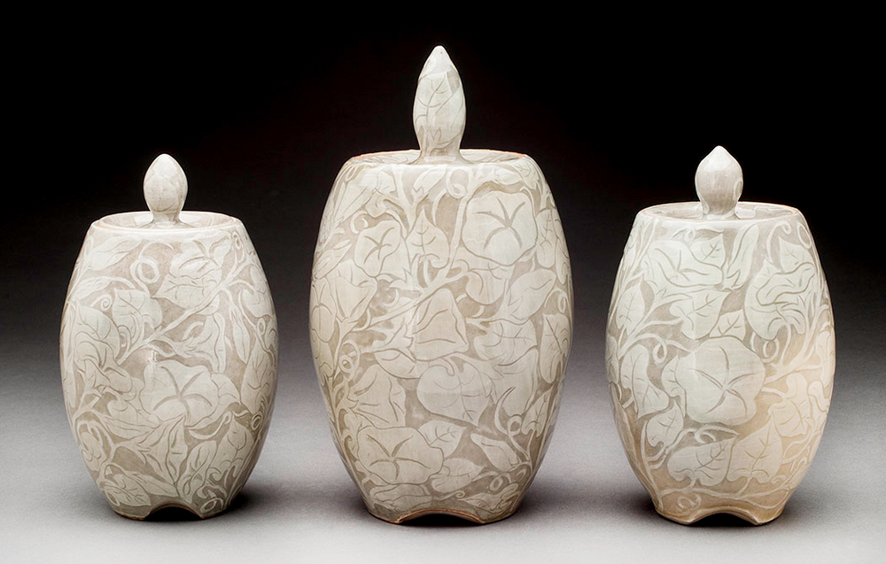 ABOVE: Lori Rollason Three Morning Glory Jars, 2014 White Stoneware with White Slip Sgraffito, Reduction Fired