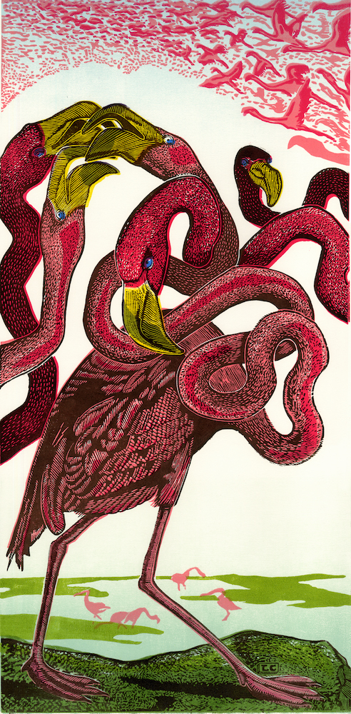 """Lyell Castonguay  Exodus (Feathery Devils Series)  Woodcut print on paper 2014 24""""x12"""" Edition of 15"""