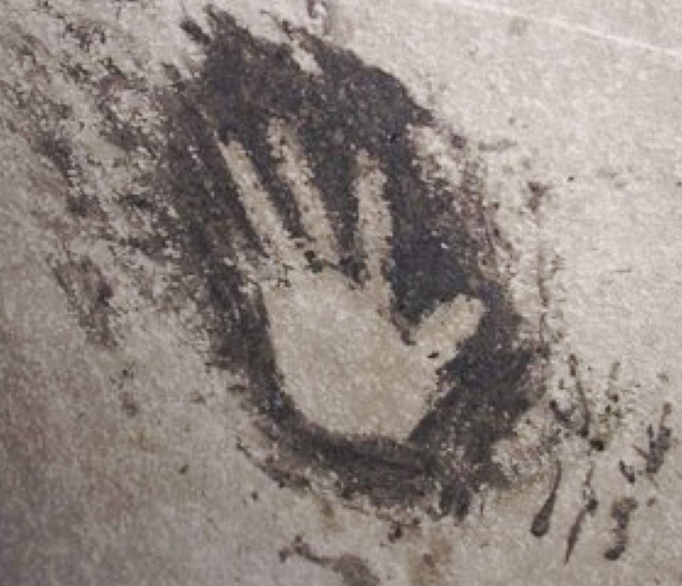 Handprint on cave wall