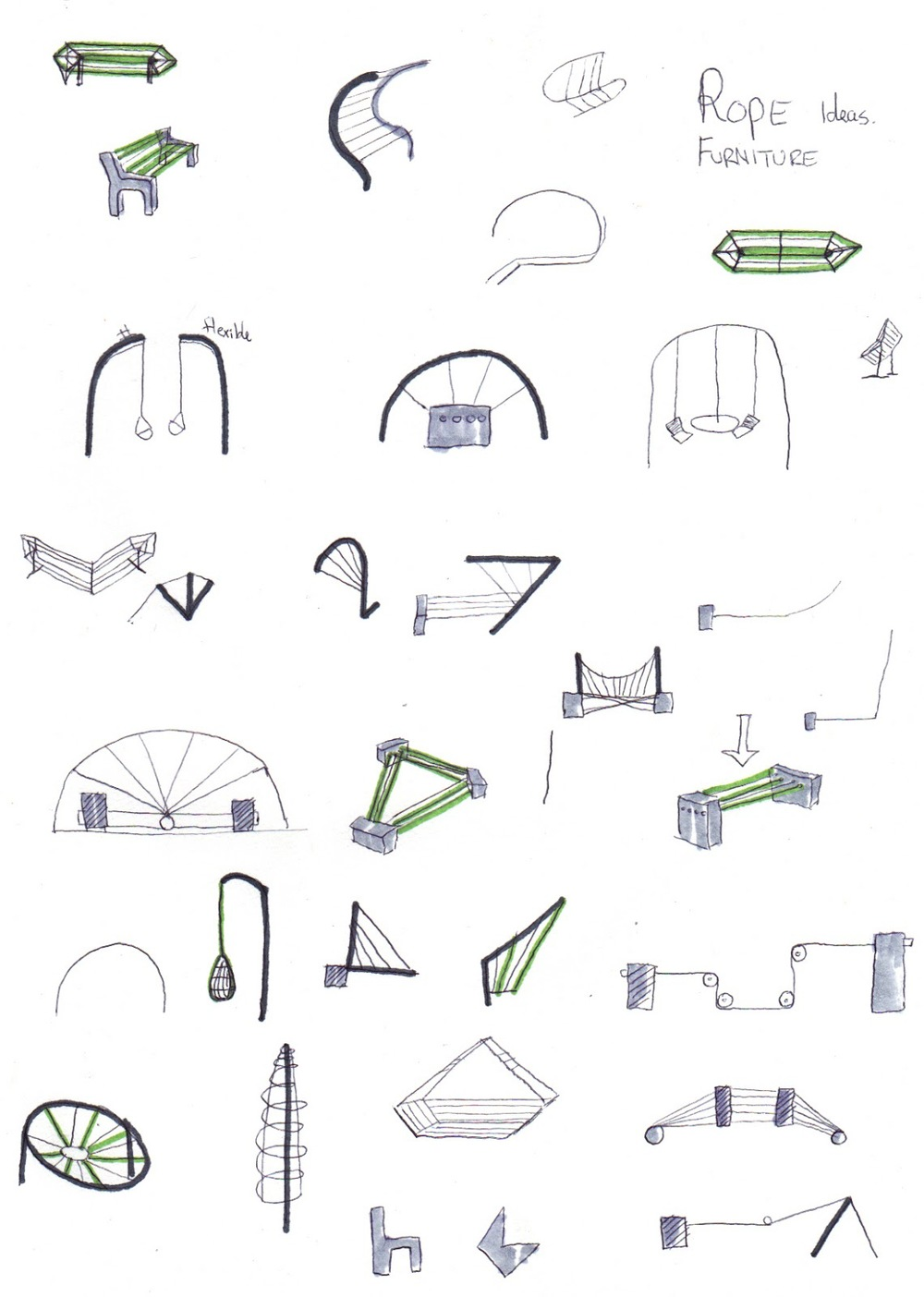 Initial 'rope chair' concepts