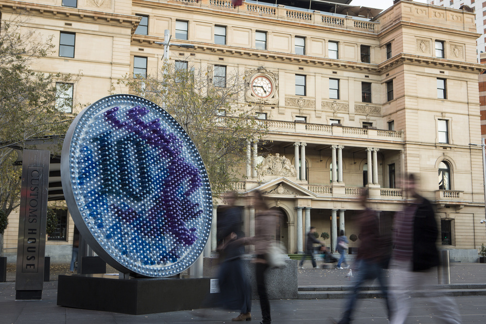 big 10 cent coin sculpture circular quay joshua flowers