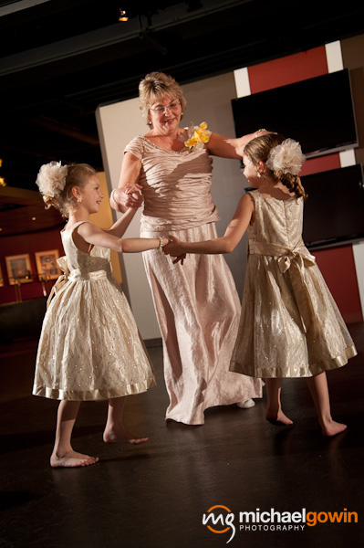 Flower girls and mother of bride dancing - Busch Stadium wedding reception - St. Louis, Missouri - Michael Gowin Photography