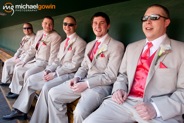 Picture of groom and groomsmen - Busch Stadium wedding - St. Louis, Missouri - Michael Gowin Photography