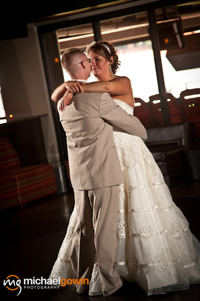 Bride and groom dancing - Champion's Club - Busch Stadium wedding - St. Louis, Missouri - Michael Gowin Photography