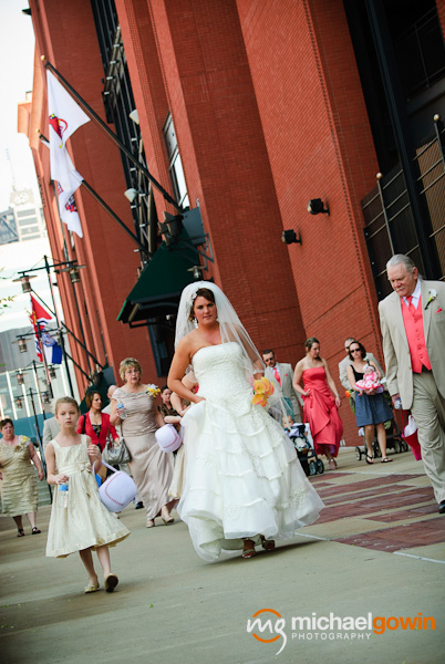 Bride at Busch Stadium wedding - St. Louis, Missouri - Michael Gowin Photography
