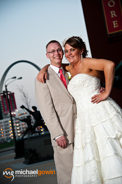 Bride and groom outside Busch Stadium and Arch - St. Louis, Missouri - Michael Gowin Photography