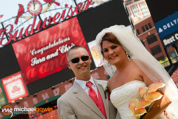 Portrait of bride and groom - Busch Stadium wedding - St. Louis, Missouri - Michael Gowin Photography