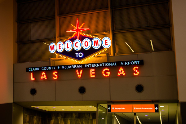 "You're probably familiar with the famous ""Welcome to Fabulous Las Vegas"" sign at the south end of the strip. I didn't see that. This sign appears in McCarran airport."