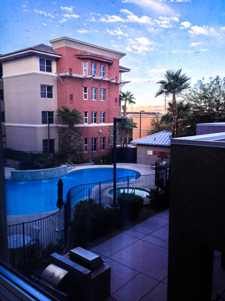 I stayed at the Hilton Homewood Suites in Henderson. It's a lovely business hotel and each suite features a good-sized work area and a kitchenette. My first room faced the central courtyard with its pool and patio. Sadly, it was a little too cool for swimming during my trips.
