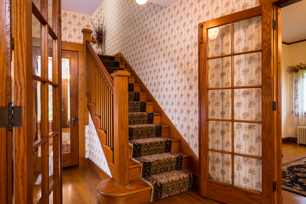 Beautiful oak French doors and staircase :: Michael Gowin Photography, Lincoln, IL