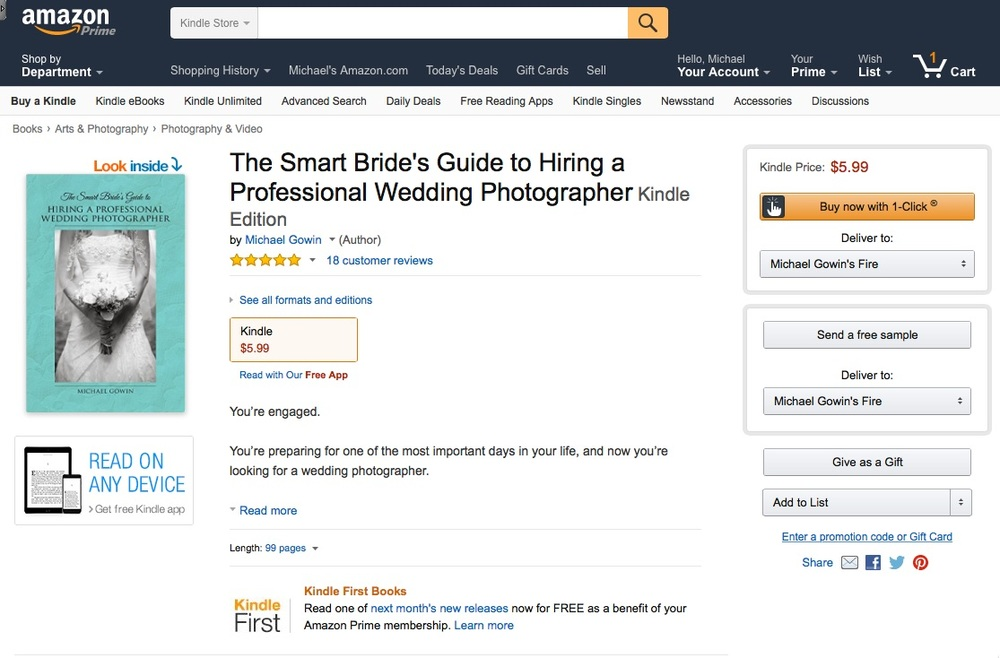 The Smart Bride's Guide to Hiring a Professional Wedding Photographer —4.9 out of 5 stars on Amazon!