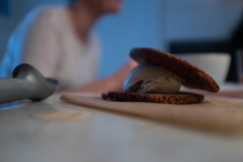 Homemade Gingersnap Ice Cream Sandwiches
