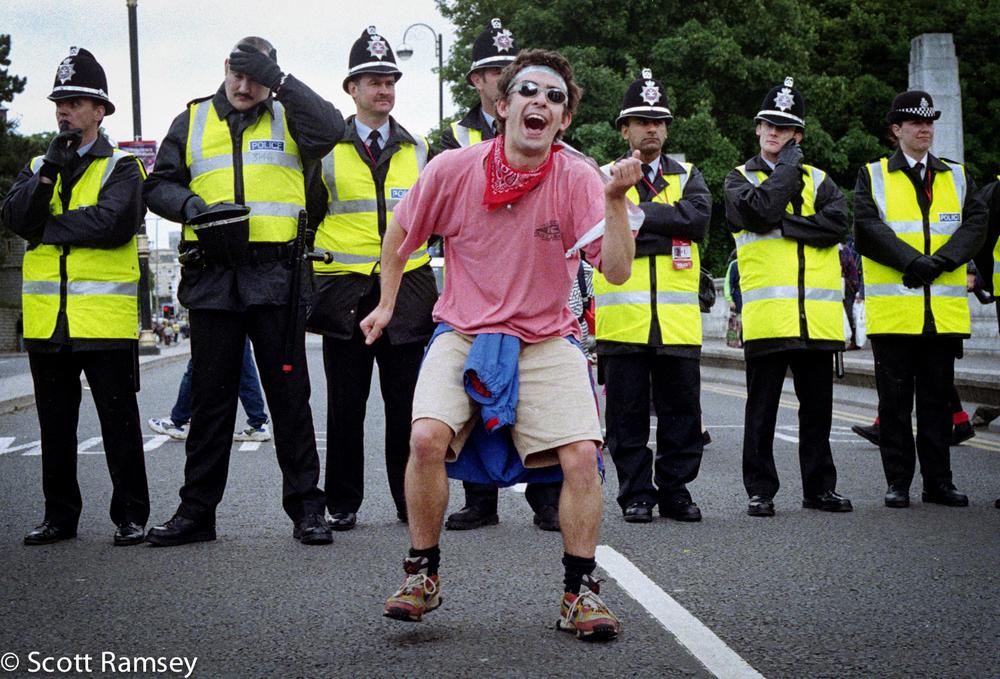 Dancing Protestor Euro Summit Cardiff