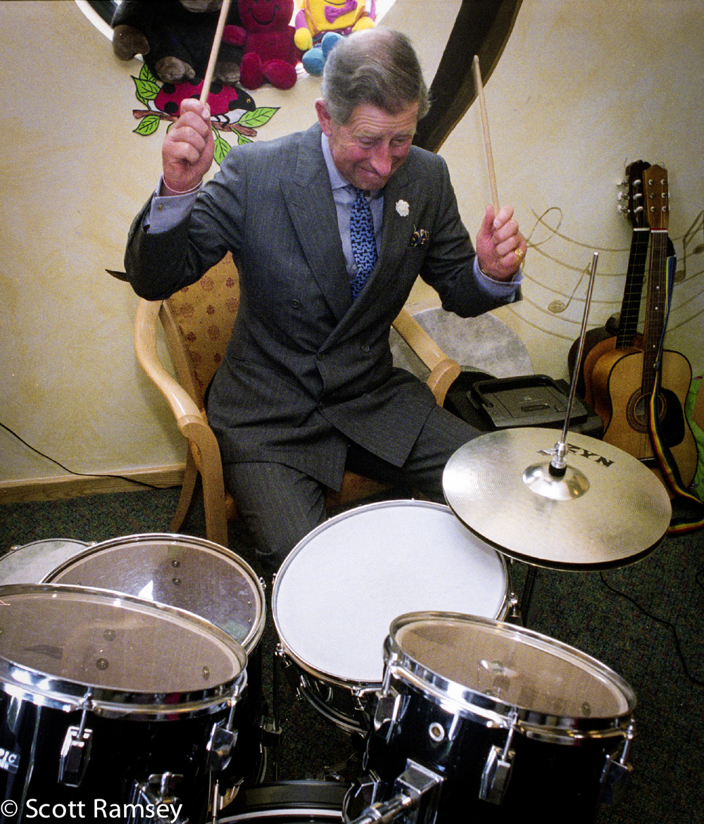 Prince Charles Playing Drums