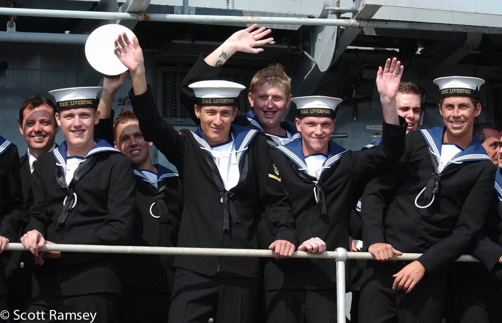 Sailors Wave on Return To Portsmouth