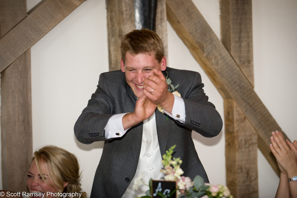 Groom Celebrates Bestmans Speech Gate Street Barn