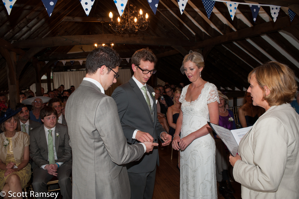A wedding ceremony at Blackstock Farm Barn in Hellingly, East Sussex.