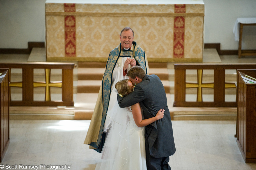 Bride And Groom Kiss Esher Wedding