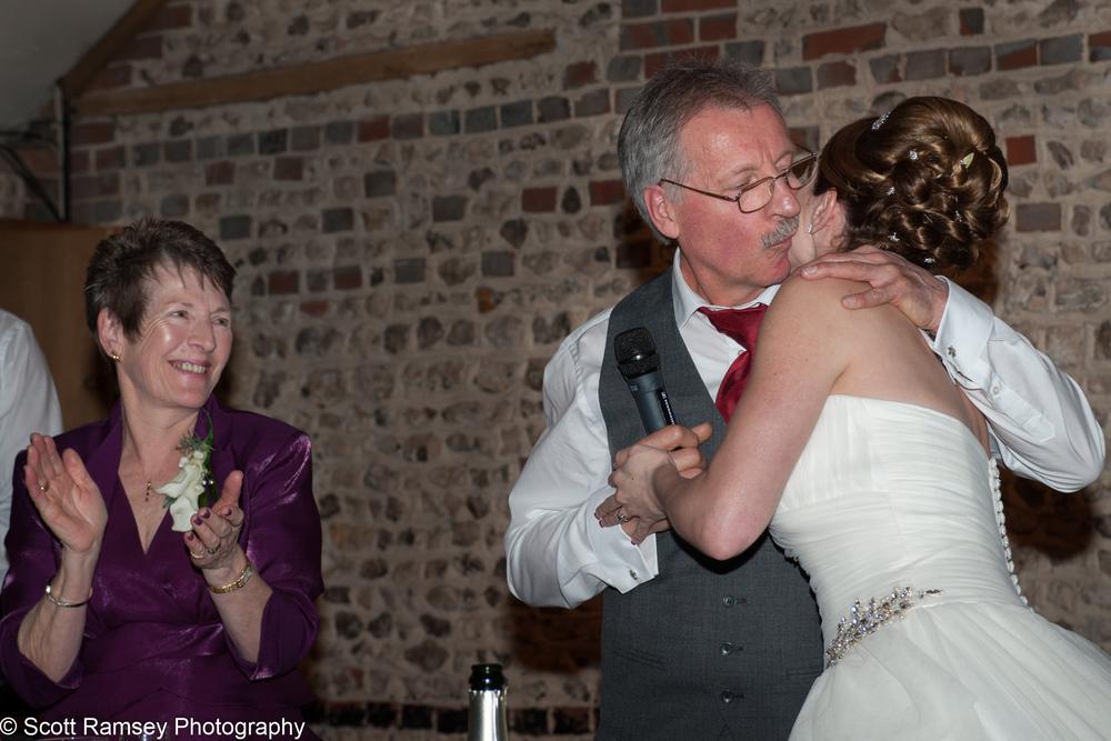 Upwaltham Barns Wedding Bride Kisses Dad 15121242