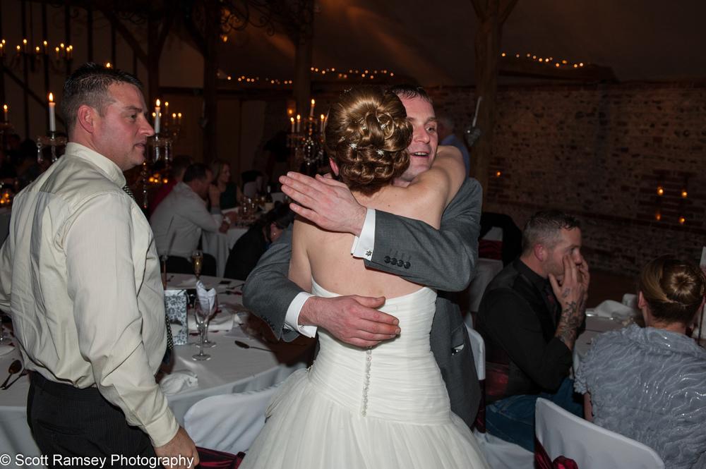 Upwaltham Barns Wedding Bride Hug 15121245