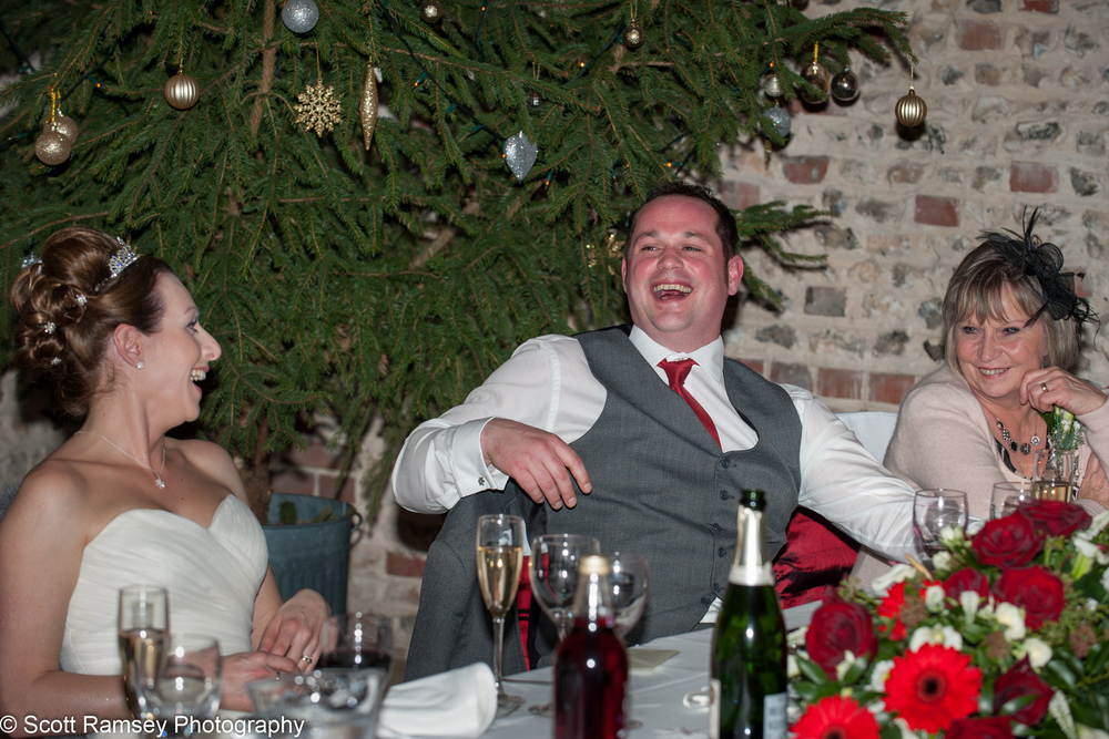 Upwaltham Barns Wedding Groom Laughing 15121244