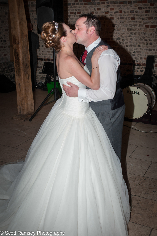 Upwaltham Barns Wedding Bride Groom Kiss 15121251