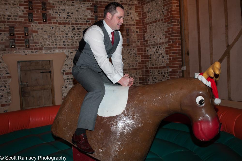Upwaltham Barns Wedding Groom Rodeo Bull 15121258