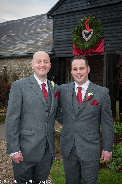 Groom and Bestman Upwaltham Barns 15121203