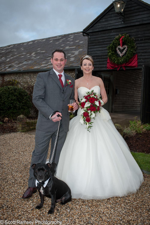 Upwaltham Barns Wedding Couple And Pet Dog 15121225